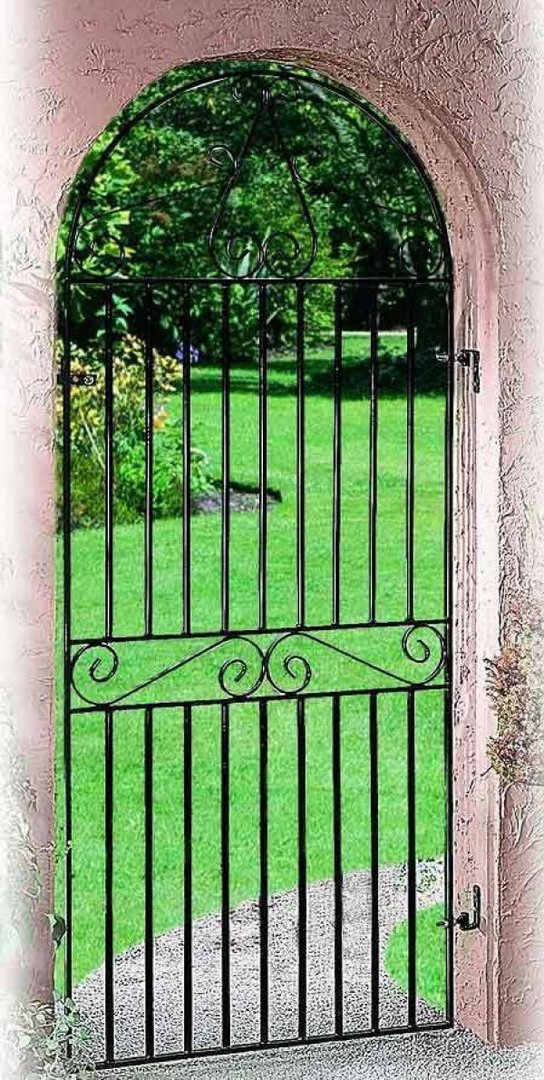 Marlborough Arched Wrought Iron Style Metal Side Gate